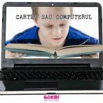 Cartea sau Computerul baiat citeste laptop