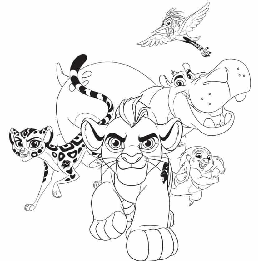 Planşe De Colorat Cu Garda Felină Personaje Din Lion Guard